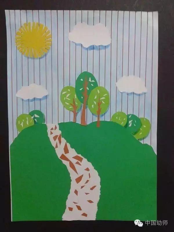 手工 一幅彩色卡纸粘贴画的制作教程图片