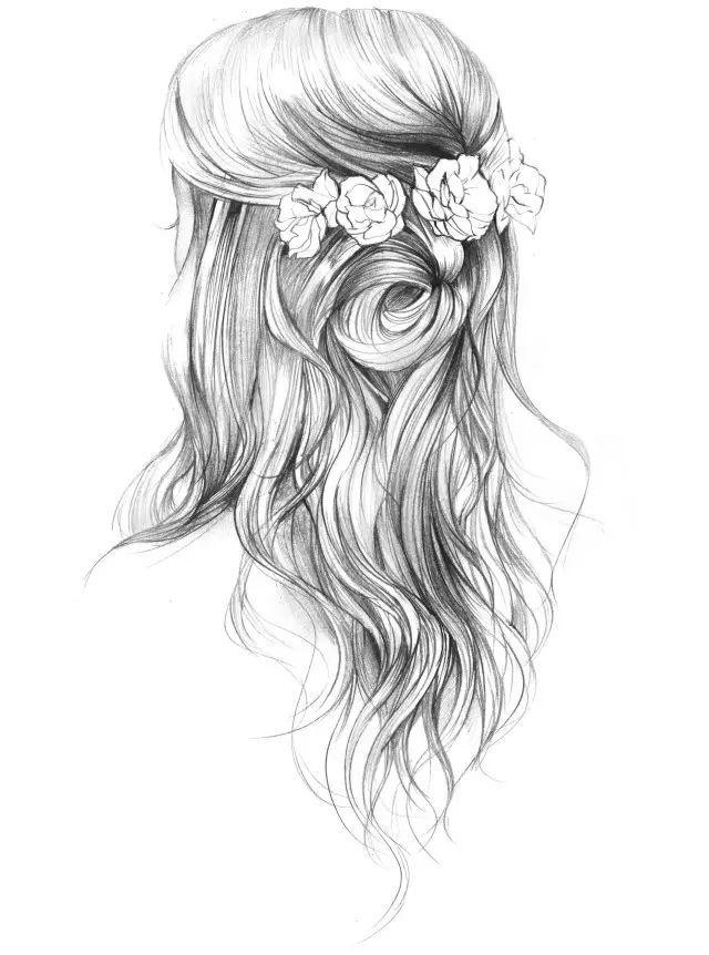 唯美发型手绘图片