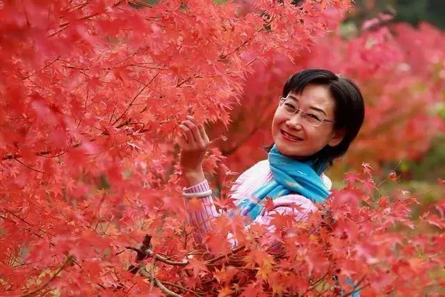 人像摄影:洛阳洛浦公园,枫叶红了图片