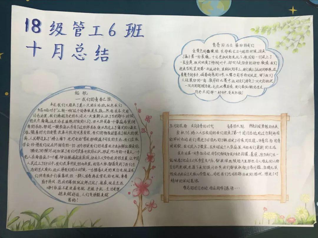18级管工6班的手抄报主要记述了班级的两次团日活动与院运动会.