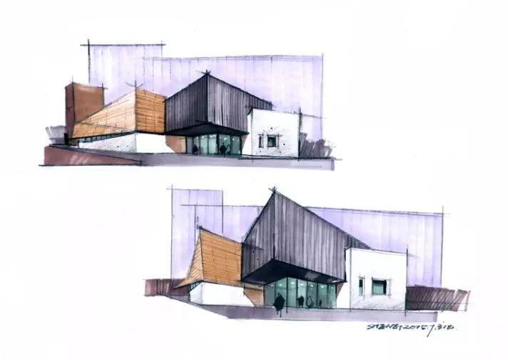 建筑课题设计实例应用(快题设计) 图1—马克笔体块塑造综合表达1