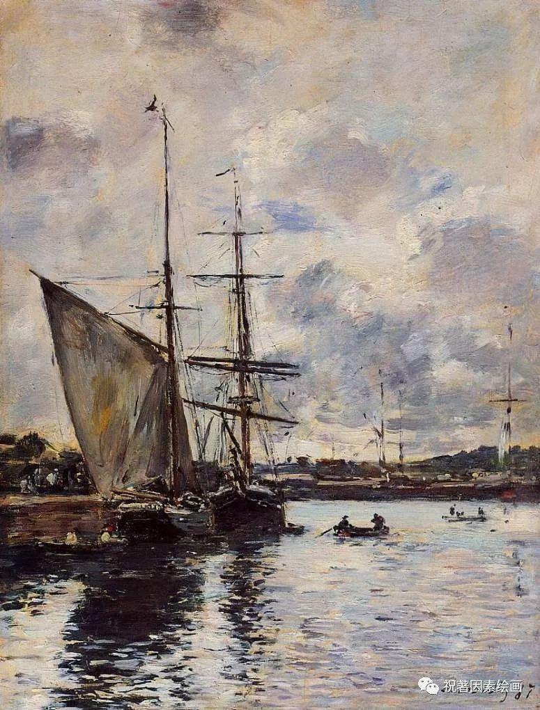 法国油画风景竖屏_法国画家欧仁·布丹(eugene boudin)风景油画作品