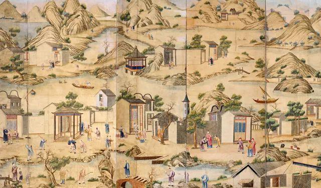 清乾隆,广州手绘农耕商贸图外销壁纸.