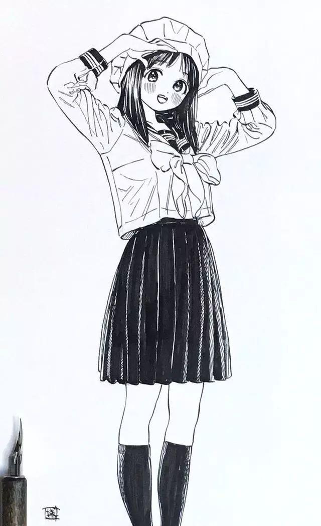 校服女孩的日常,手绘插画