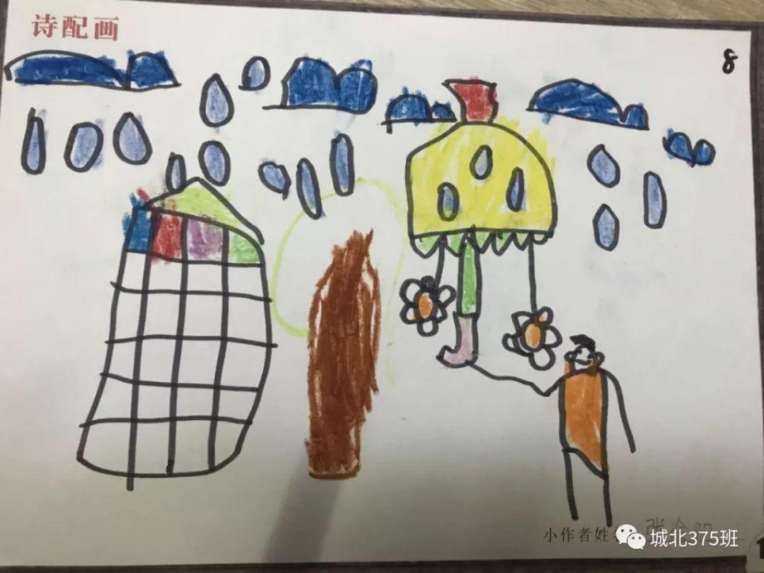 春天小学生画画作品之校园的春天 - 5068儿童网