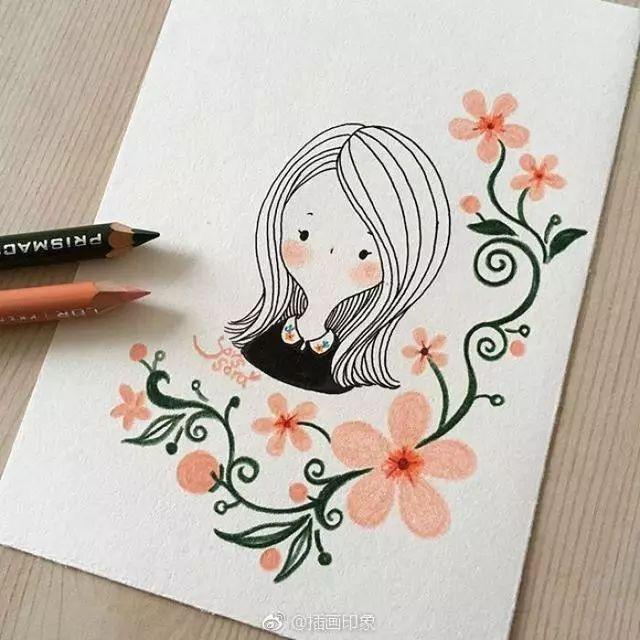 超萌的一组彩铅简笔画小女孩和小动物
