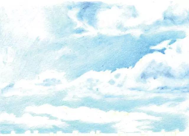 蓝色把白色的云彩衬托出来后,画近处云彩的暗部,注意用笔要柔和,可以用棉签揉一下。  远处的云彩比较小,颜色比较白,叠加一点就够了,不宜画重,然后来绘制白云的紫红色部分。  天空的颜色比较单薄,叠加出更多的层次,这样天空的纵深感就比较强了。 画云朵的小知识   一朵具有立体感的云彩的处理方法近似于在画球体  一朵云彩的前端暗淡,但是其上方和背后都诱出了光线  深入刻画云彩的细节,调整前后云彩的层次。  铺出麦垛的底色,在画麦垛的暗部,注意边缘参差不齐的处理。最后画出绳子的颜色,绳子附着在麦垛的体积上的,注意