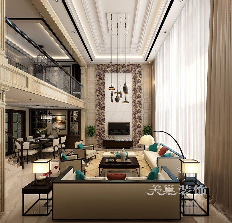 普罗旺世龙之梦260平别墅新中式装修样板间——电视背景墙效果图图片