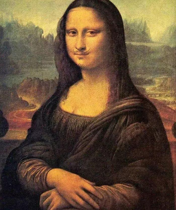 由于他鬼使神差地在世界名画,代表绘画权威的《蒙娜丽莎》脸上添了图片