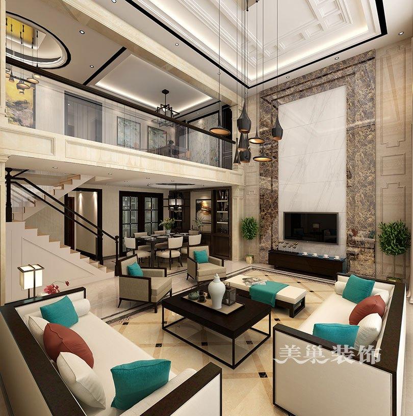 普罗旺世龙之梦260平别墅新中式装修案例——电视背景墙效果图图片