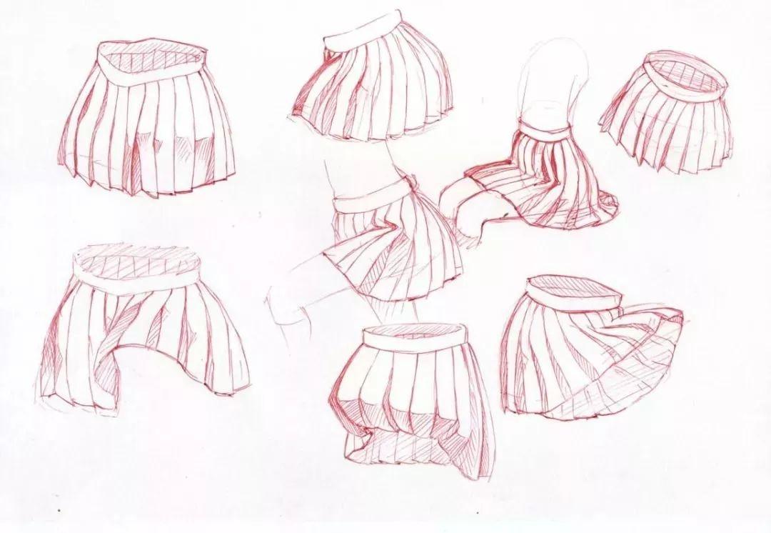 绘画素材   二次元动漫小裙子线稿,临摹练习