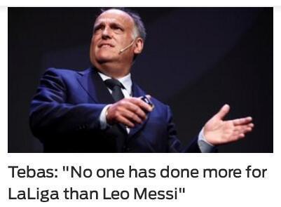 西甲主席:梅西为我们联赛所做的贡献比谁都多