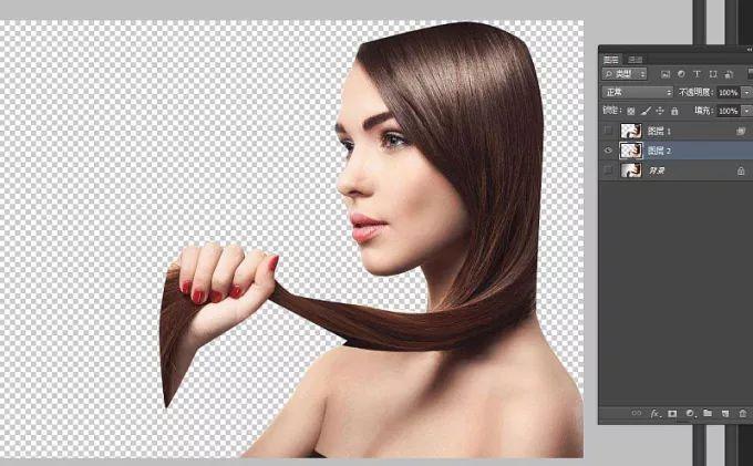 【ps教程】给长发美女模特照片抠图换背景!