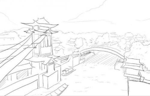如何用简笔画勾勒 逆水寒 风景 看大神玩家绘制游戏漫画