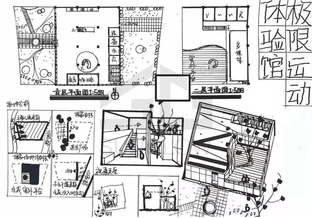 滨水茶室设计快题手绘