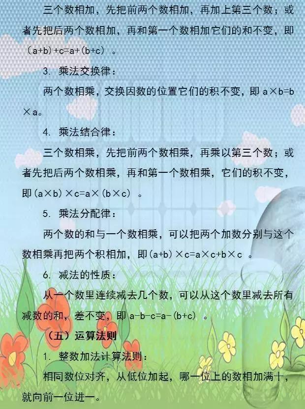 给孩子打好数学地基,小学数学1~6年级常识点全归纳(保藏)(责编保举:高测验题jxfudao.com)