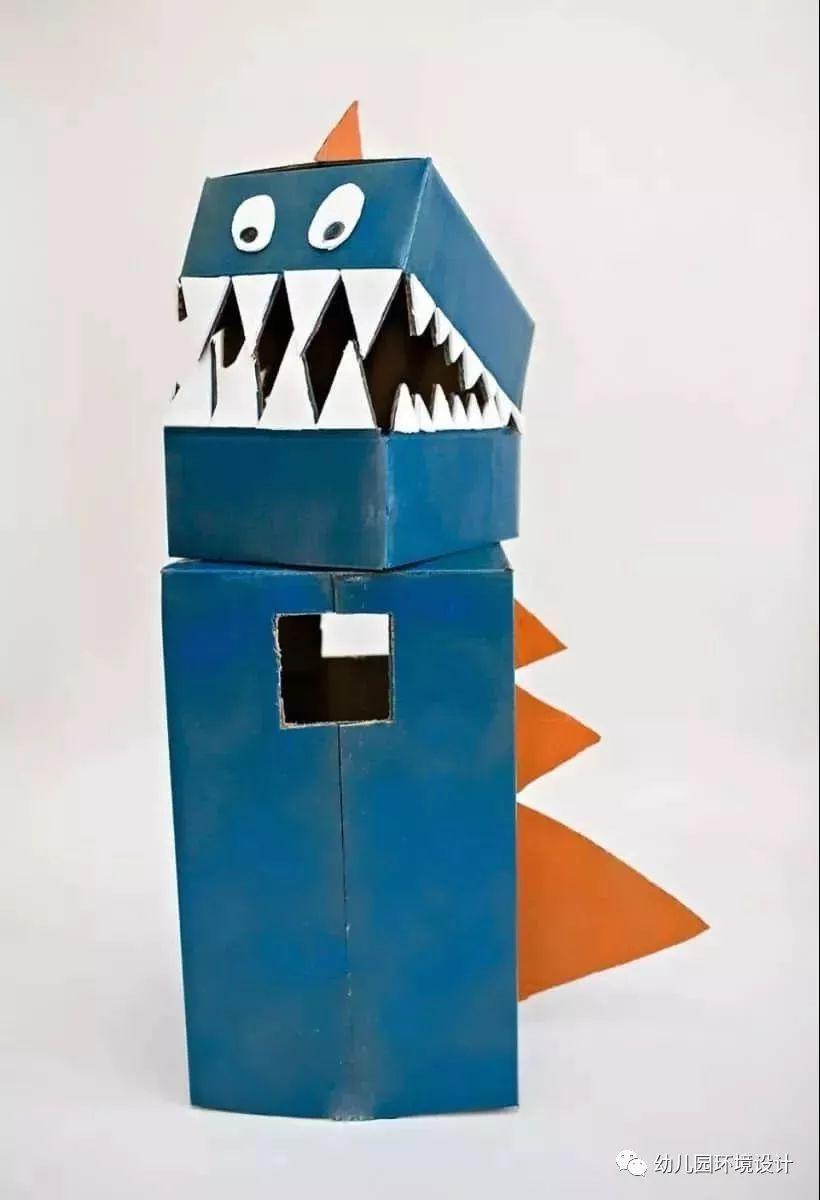幼儿园纸箱手工制作恐龙