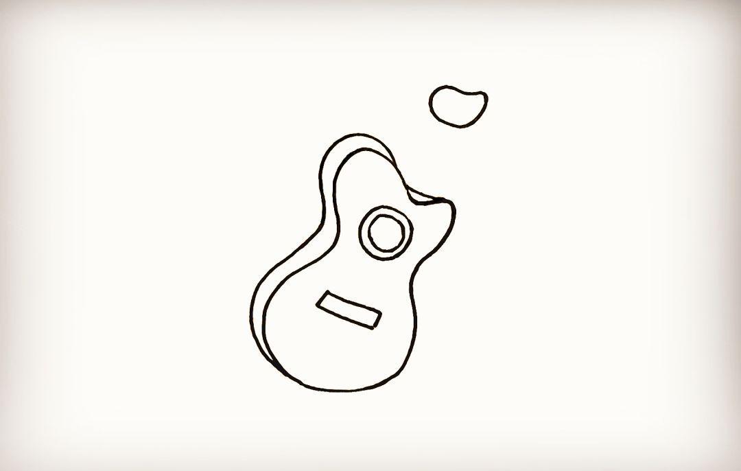 简笔画 一把帅气的吉他 巧手教育