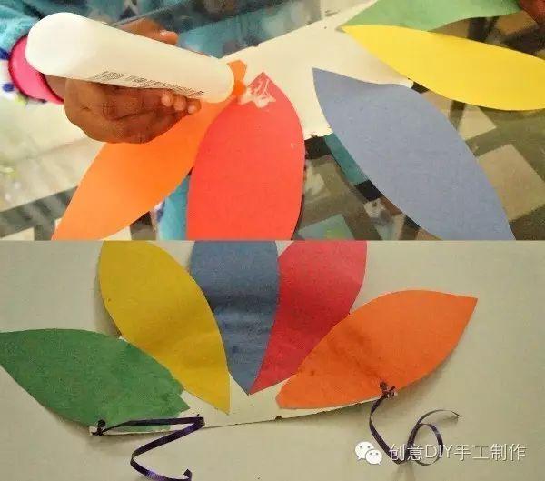 7.在纸盘正面,贴上塑料小眼睛,然后剪一小卡纸当作嘴巴.