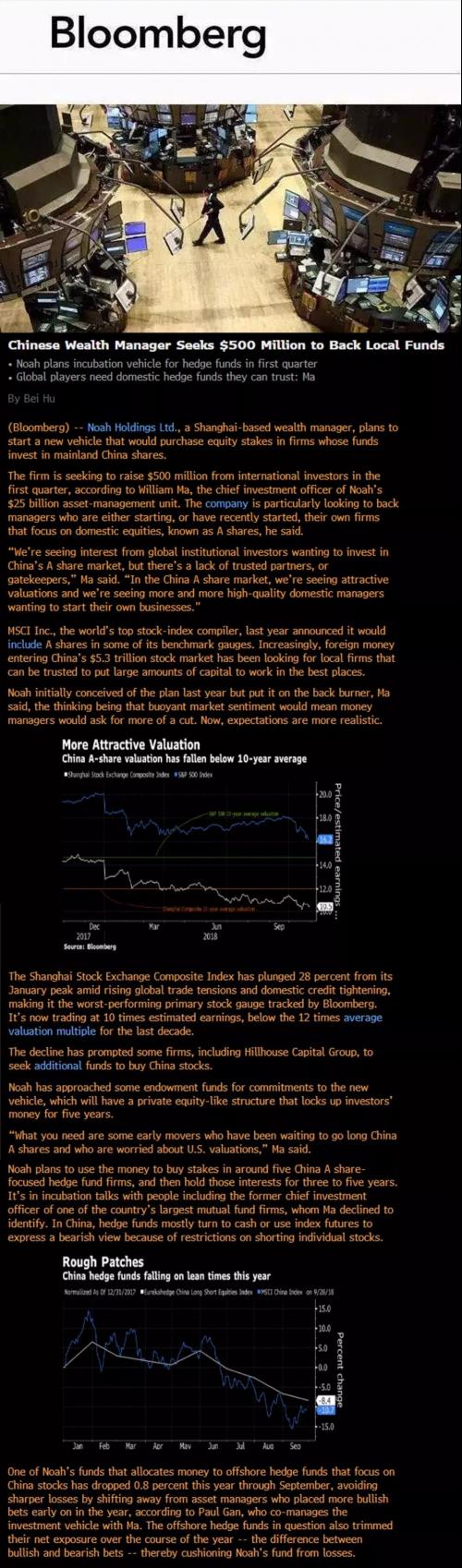 彭博社报道:诺亚财富将计划募集5亿美元投资于中国本土基金