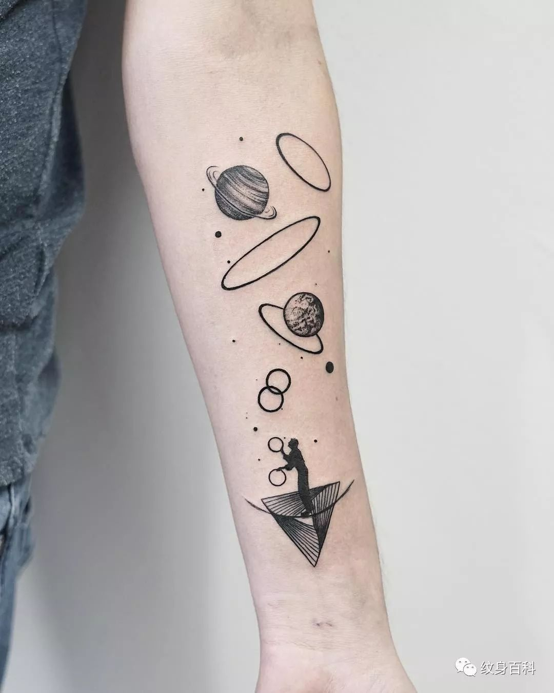 黑灰色小清新纹身,少见哈_ins