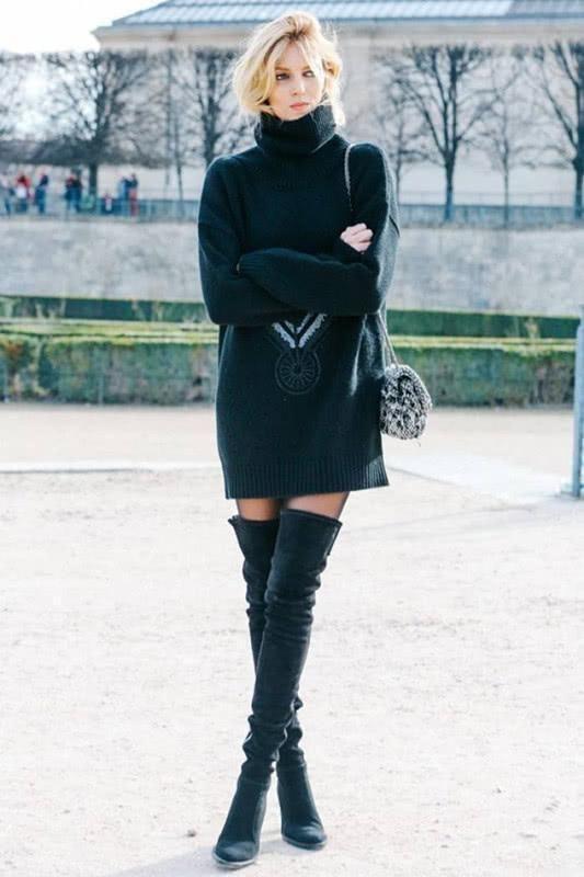穿长靴的戚薇超美,评选腿精我一定选她,女生再不穿又降温了!
