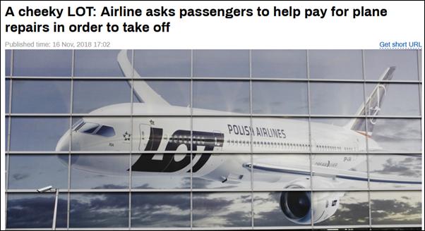 波兰客机北京起飞前故障 工作人员让乘客凑钱维修