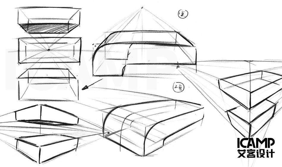 模块全面掌握工业设计手绘技法 课程内容详情  01 线条调子,比例透视
