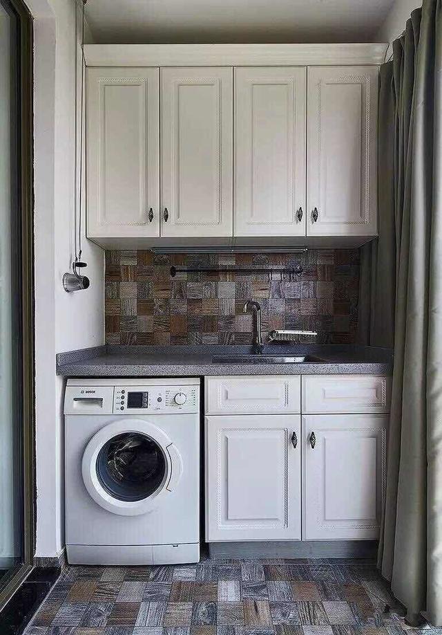 20款精美的阳台洗衣机柜设计,总有一款适合你家的图片