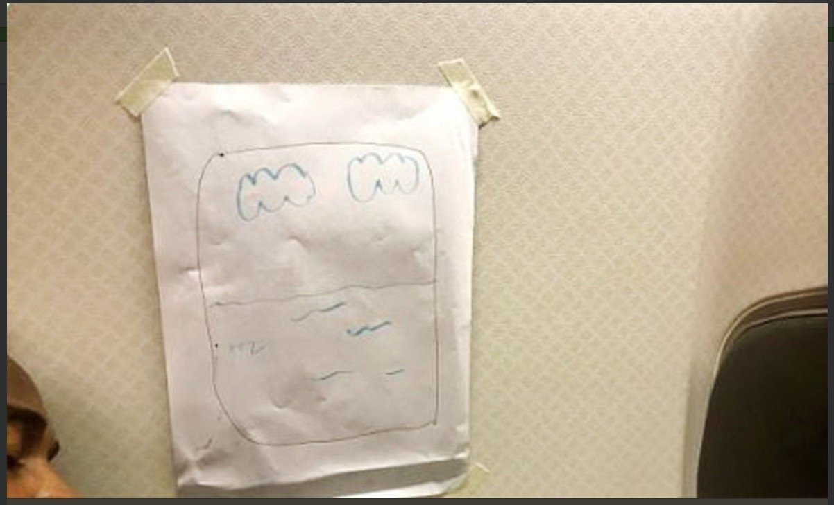航班上乘客要求靠窗,空乘人员给他画了一个