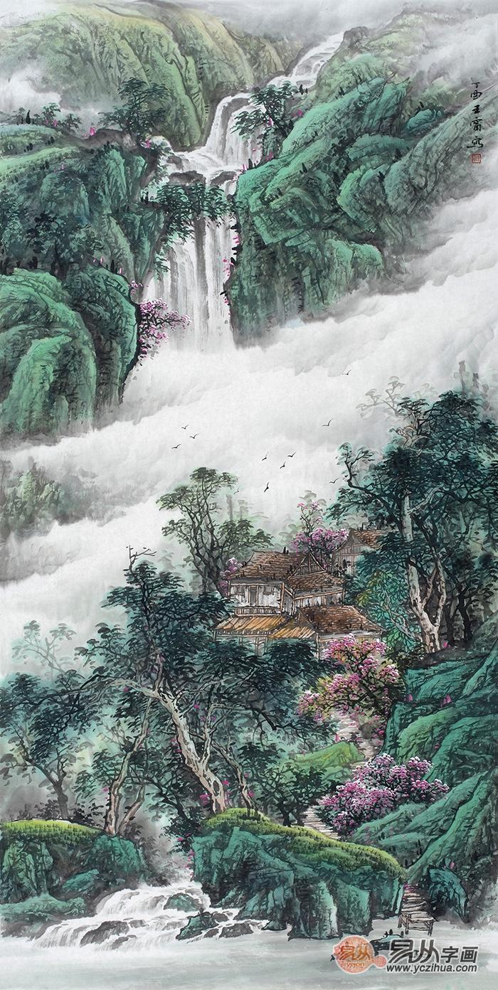 王宁最新力作四尺竖幅青绿山水画《源远流长》   这幅作品是王宁老师的青绿山水画《源远流长》.