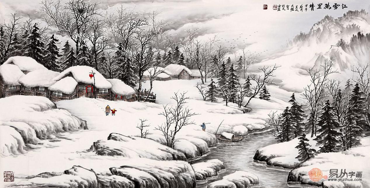 书画 > 笔墨生动,深邃静美,当代山水画家吴大恺的作品欣赏  雪景山水图片