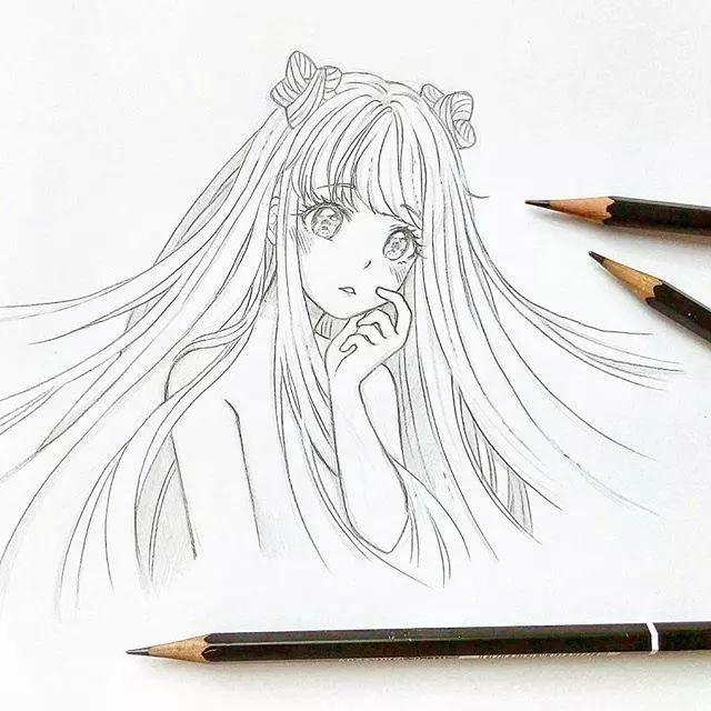 33张简单女生动漫线稿图,适合新手临摹!_手绘师