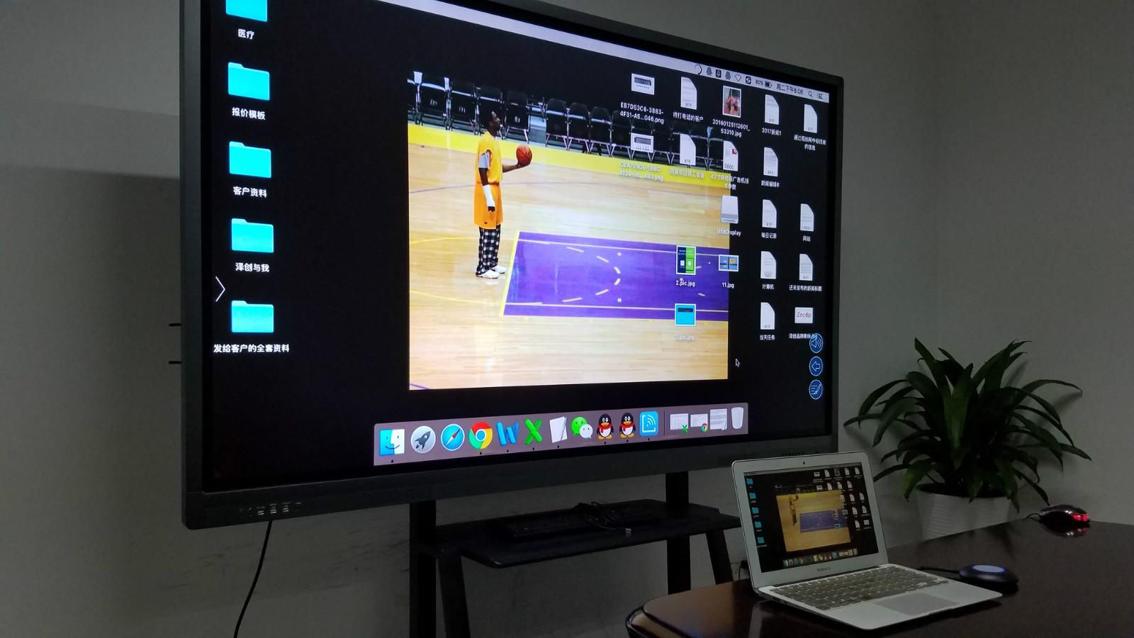 笔记本/手机/平板的信号可无线投影到会议室里液晶拼接屏上显示吗?