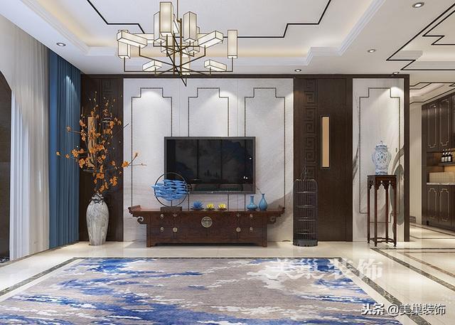 180平三室两厅新中式风格,传统艺术就是高端的奢侈品——电视背景墙图片