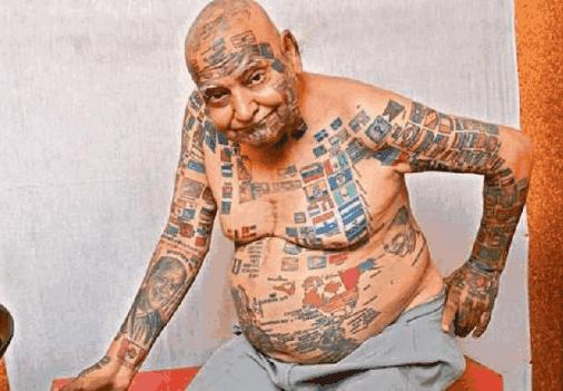 68歲印度大爺, 身體紋了366面國旗, 一生打破20多項世界紀錄!