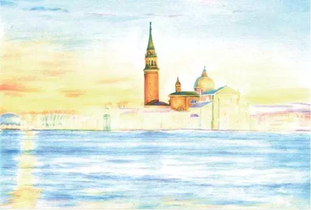 超详细彩铅教程, 十分钟教你画水城威尼斯风景