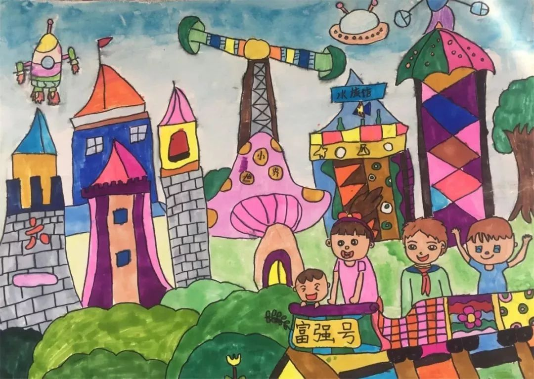 展示绿色家园,幸福生活;畅想新时代科技腾飞,祖国富强.图片