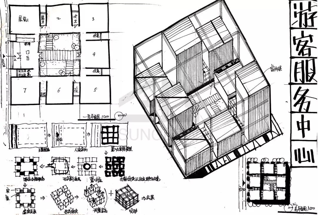 小快题模考评图05 |东南18初试游客服务中心设计图片