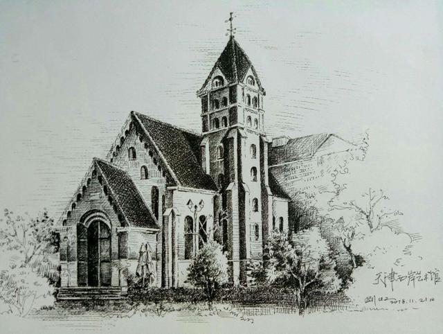 世界著名建筑手绘图黑白