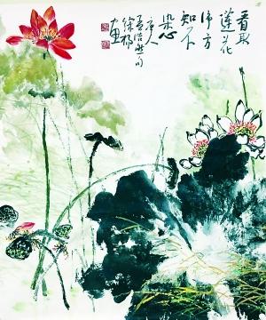"""""""徐杨的油画思路较宽,有人物,有动物,有风景."""