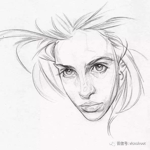 黑白人物肖像素描图片