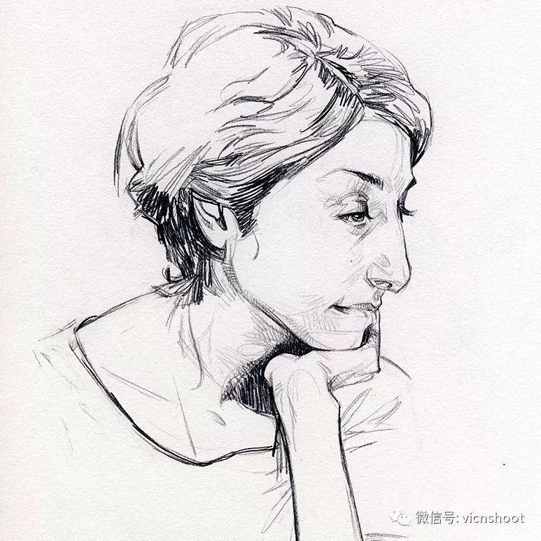 黑白人物肖像素描