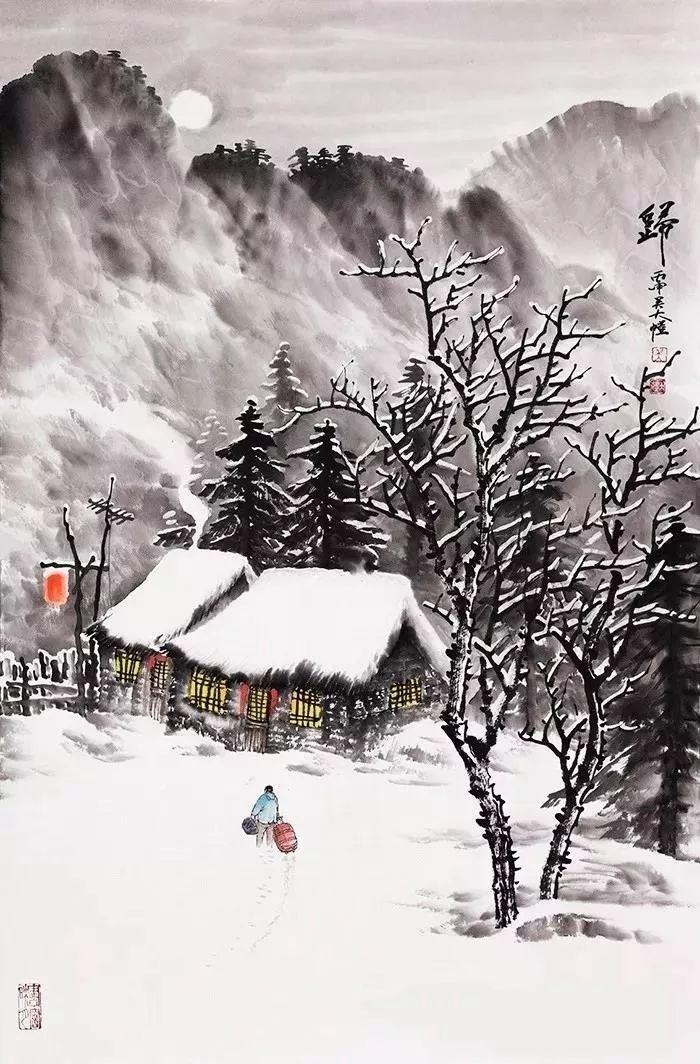冬天的雪景山水画,这么漂亮你有没有见过