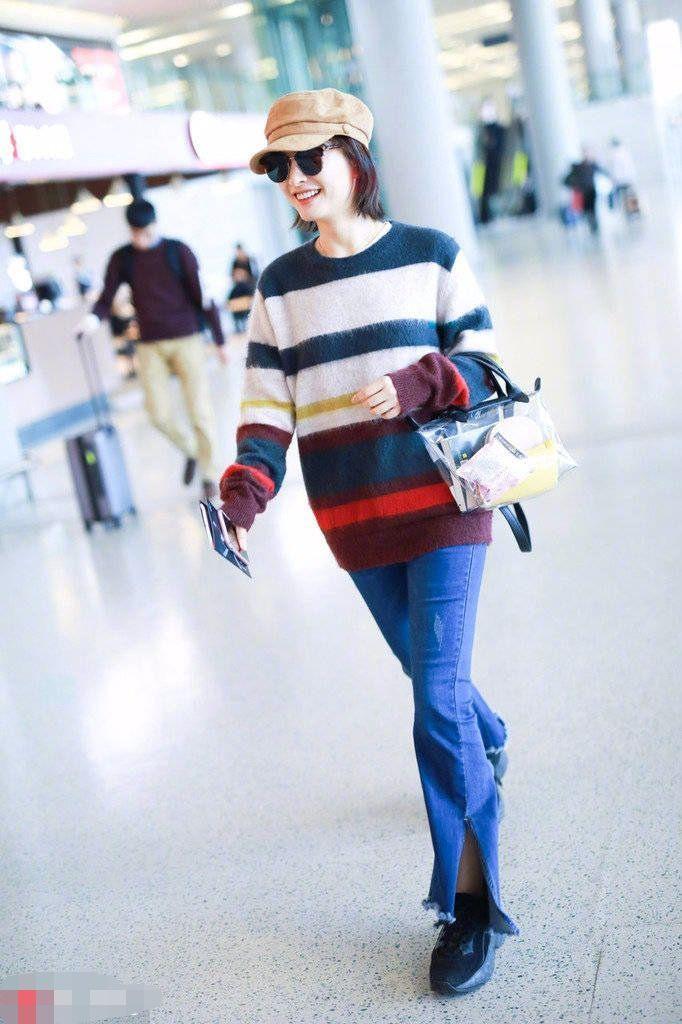 吴昕穿彩虹衣白成一道光,年纪大了懂得要保暖了!