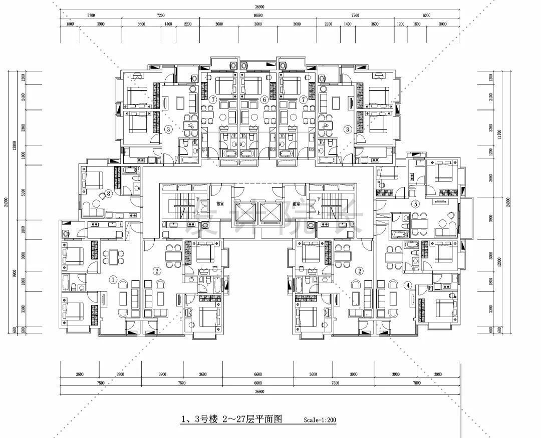 正文  详细住宅小区规划cad总平面图 一起来学习下 …… 01 室内户型