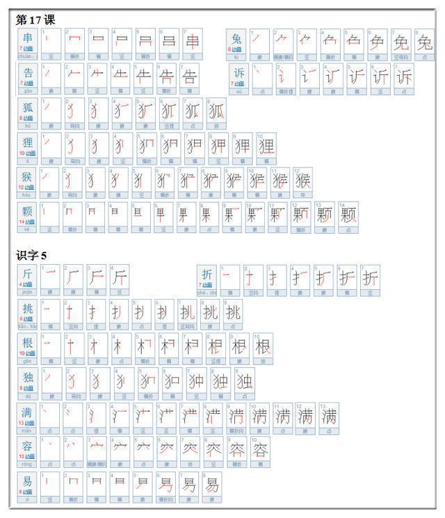 一年级必会的275个生字 附笔画顺序