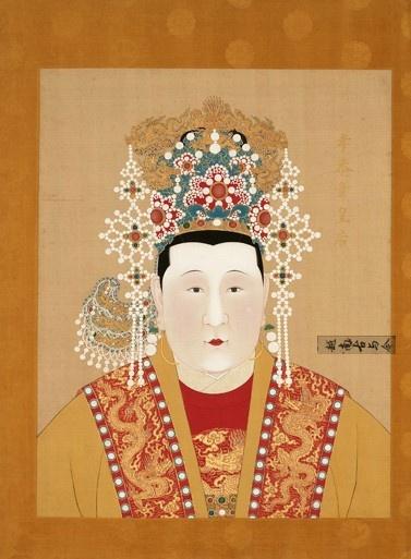 实拍故宫明朝皇后画像 图一是大脚马皇后,图七是史上最幸福皇后