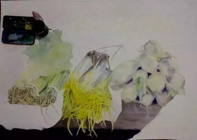2.画到那个部分就把色块平铺一遍,用喷壶一边湿润一边画.图片