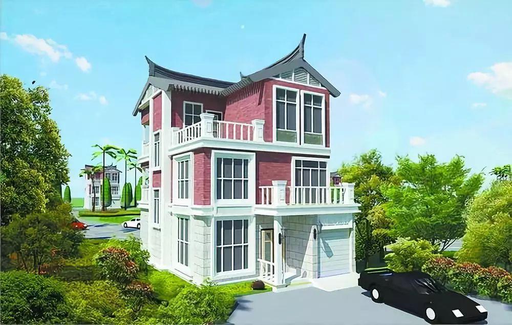 别墅白石和燕尾脊,将闽南古厝的融入之中建筑现代风格别墅的建筑红砖农村绿城沈阳图片